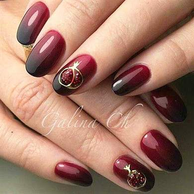 Гранат дизайн ногтей