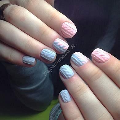 вязаный дизайн ногтей вязка на ногтях косичка блог о рукоделии и моде