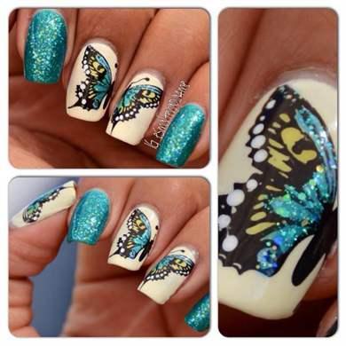 Маникюр с рисунками на двух ногтях