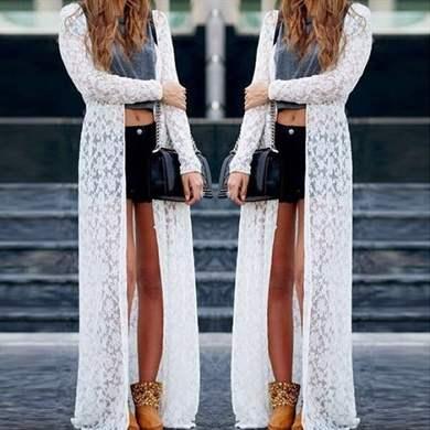 Кружевное платье с кардиганом
