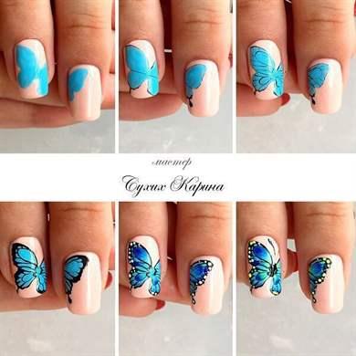 Рисунки на ногтях бабочек