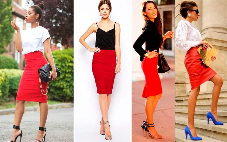 Что можно одеть под красную юбку карандаш