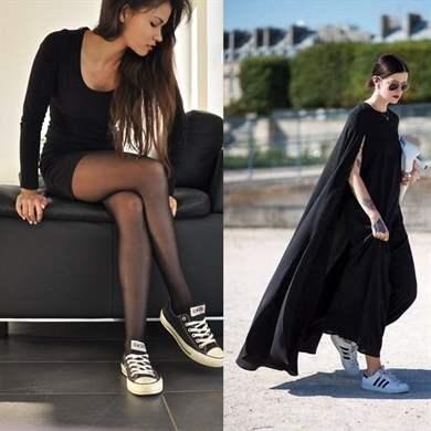 Платье с кедами  как носить правильно и составить стильный образ 02b3070e7c0