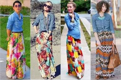 Длинная цветная летняя юбка