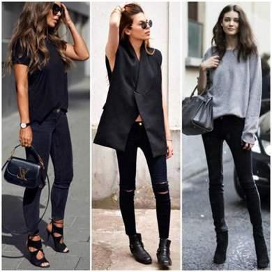 Чёрные джинсы с чем носить фото
