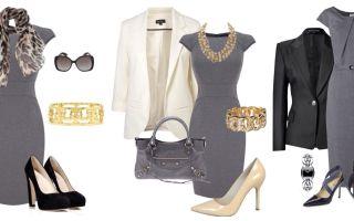 С чем носить серое платье: фото модных луков, как сочетать с обувью и аксессуарами