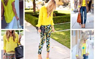 С чем носить желтую блузку: фото примеры, модные сочетания с одеждой и обувью