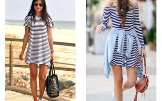 С чем носить полосатое платье: фото модных луков, с чем сочетать