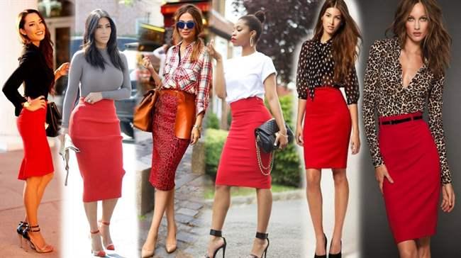 d46431efb26 С чем носить красную юбку карандаш  модные тенденции этим летом с фото