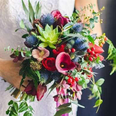 Роз для, свадебный букет зелено-красный